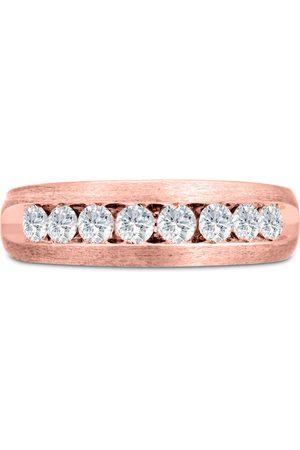 SuperJeweler Men's 3/4 Carat Diamond Wedding Band in 10K Rose , G-H, I2-I3, 6.78mm Wide
