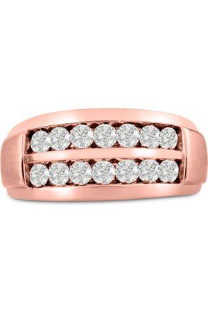 SuperJeweler Men's 1 Carat Diamond Wedding Band in 10K Rose , G-H, I2-I3, 10.56mm Wide