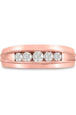 SuperJeweler Men's 1/2 Carat Diamond Wedding Band in 14K Rose , I-J-K, I1-I2, 7.34mm Wide