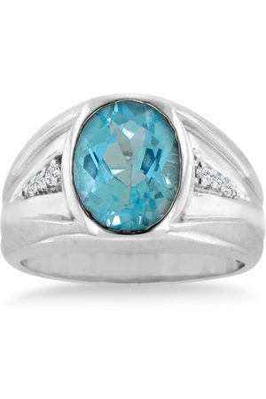 SuperJeweler 4 1/2 Carat Oval Blue Topaz & Diamond Men's Ring Crafted in Solid 14K , I/J