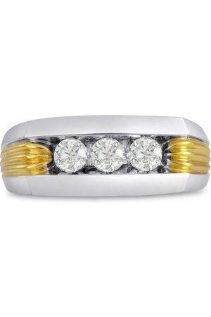 SuperJeweler Men's 1/2 Carat Diamond Wedding Band in 10K Two-Tone , G-H, I2-I3, 9.01mm Wide