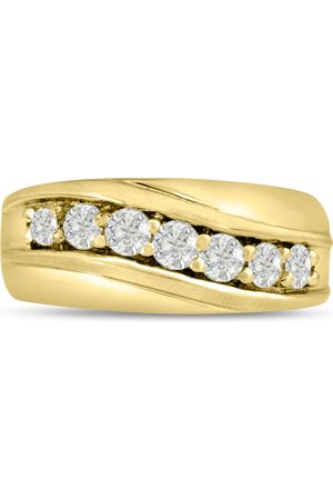 SuperJeweler Men's 1 Carat Diamond Wedding Band in 10K , G-H, I2-I3, 9.88mm Wide