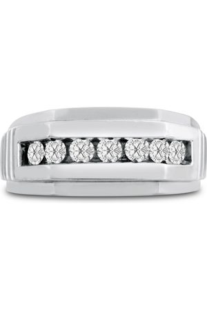 SuperJeweler Men's 1/2 Carat Diamond Wedding Band in 10K , G-H, I2-I3, 9.91mm Wide