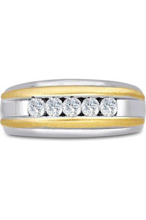 SuperJeweler Men's 1/2 Carat Diamond Wedding Band in 10K Two-Tone , G-H, I2-I3, 9.0mm Wide
