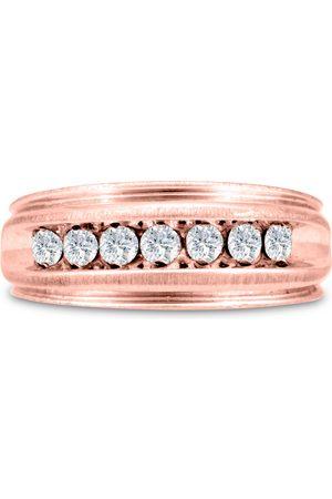 SuperJeweler Men's 1/2 Carat Diamond Wedding Band in 10K Rose , I-J-K, I1-I2, 8.06mm Wide