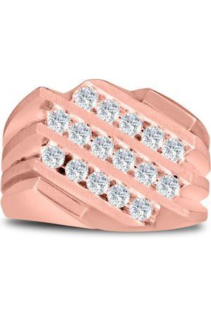 SuperJeweler Men's 1 Carat Diamond Wedding Band in 10K Rose , G-H, I2-I3, 15.95mm Wide