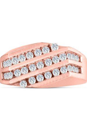 SuperJeweler Men's 1/10 Carat Diamond Wedding Band in 10K Rose , I-J-K, I1-I2, 6.48mm Wide