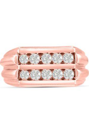 SuperJeweler Men's 1 Carat Diamond Wedding Band in 10K Rose , G-H, I2-I3, 11.17mm Wide