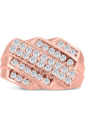 SuperJeweler Men's 1 Carat Diamond Wedding Band in 14K Rose , G-H, I2-I3, 13.85mm Wide