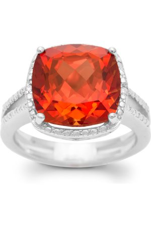 SuperJeweler 5 Carat Cushion Cut Created Padparadscha Sapphire & Diamond Ring, J/K in Sterling Silver