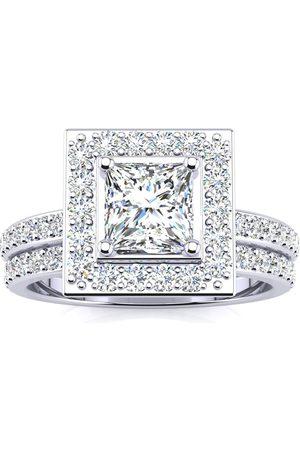 SuperJeweler 2 Carat Princess Cut Halo Diamond Bridal Engagement Ring Set in 14k (7 g), H/I