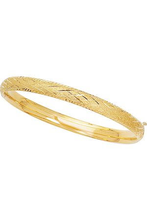 SuperJeweler 14K (3.4 g) 5.5mm 5.50 Inch Children's Shiny Diamond Cut Bangle Bracelet w/ Diamond Pattern