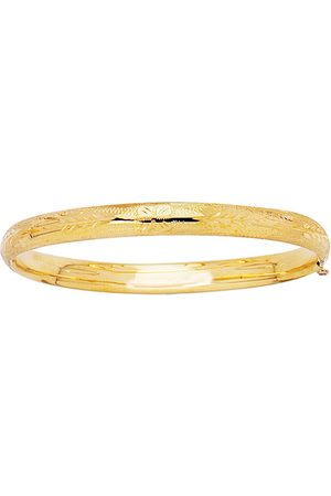 SuperJeweler 14K (3.6 g) 5.5mm 5.50 Inch Children's Shiny Diamond Cut Florentine Bangle Bracelet