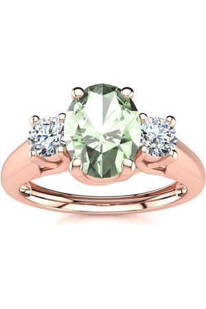 SuperJeweler 1 Carat Oval Shape Green Amethyst & Two Diamond Ring in 14K Rose (2.2 g), I/J