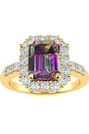 SuperJeweler 2 Carat Emerald Cut Mystic Topaz & Halo Diamond Ring in 14K (5 g), I/J