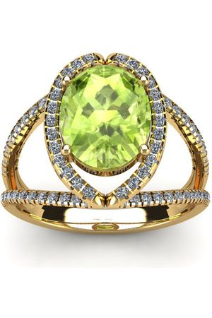 SuperJeweler 1 3/4 Carat Oval Shape Peridot & Halo Diamond Ring in 14K (3.5 g), H/I