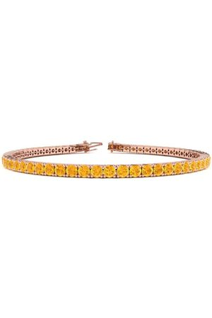 SuperJeweler 7.5 Inch 4 1/4 Carat Citrine Tennis Bracelet in 14K Rose (10.1 g)