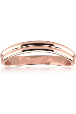 SuperJeweler 10K Rose (1.4 g) 3MM Comfort Fit Curved Double Wave Thumb Ring