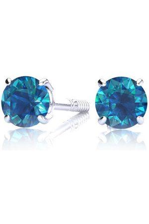 SuperJeweler 1/4 Carat Blue Diamond Stud Earrings in 14k Filled