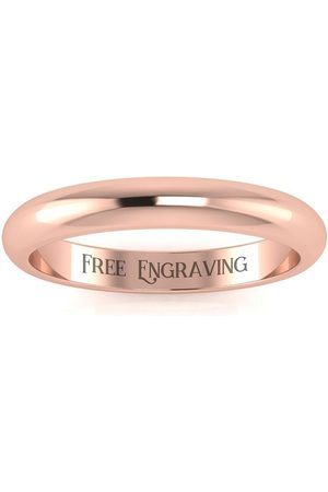 SuperJeweler 18K Rose (4.9 g) 3MM Comfort Fit Ladies & Men's Wedding Band, Size 17, Free Engraving