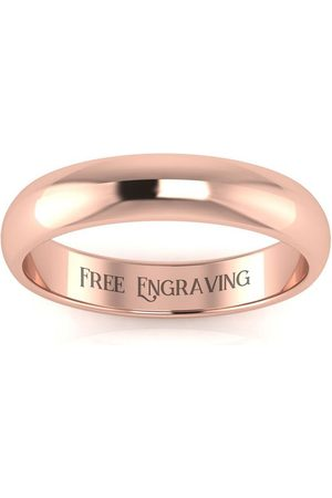 SuperJeweler 14K Rose (4.8 g) 4MM Comfort Fit Ladies & Men's Wedding Band, Size 13, Free Engraving