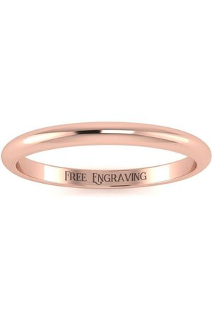 SuperJeweler 18K Rose (2.6 g) 2MM Comfort Fit Ladies & Men's Wedding Band, Size 13, Free Engraving