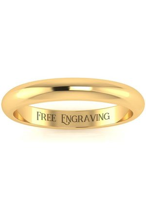 SuperJeweler 14K (3.7 g) 3MM Comfort Fit Ladies & Men's Wedding Band, Size 14, Free Engraving