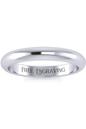 SuperJeweler 14K (2.5 g) 3MM Comfort Fit Ladies & Men's Wedding Band, Size 3.5, Free Engraving