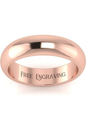 SuperJeweler 14K Rose (4.3 g) 5MM Comfort Fit Ladies & Men's Wedding Band, Size 3, Free Engraving