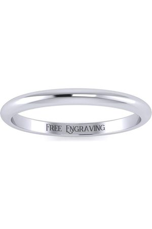 SuperJeweler Platinum 2MM Comfort Fit Ladies & Men's Wedding Band, Size 7.5, Free Engraving