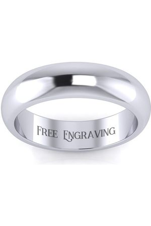 SuperJeweler Men Rings - Platinum 5MM Comfort Fit Ladies & Men's Wedding Band, Size 11.5, Free Engraving