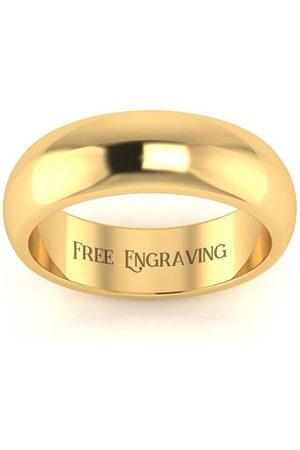 SuperJeweler Men Rings - 10K (4.8 g) 6MM Comfort Fit Ladies & Men's Wedding Band, Size 3.5, Free Engraving