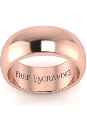 SuperJeweler Men Rings - 10K Rose (6.5 g) 8MM Comfort Fit Ladies & Men's Wedding Band, Size 4.5, Free Engraving