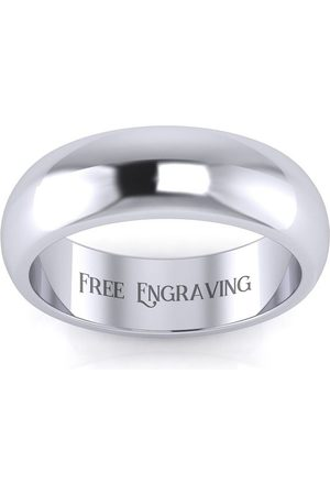 SuperJeweler Men Rings - Platinum 6MM Comfort Fit Ladies & Men's Wedding Band, Size 12, Free Engraving