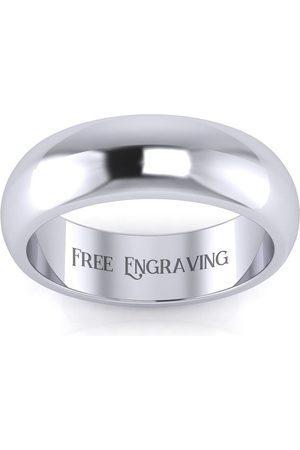 SuperJeweler Men Rings - Platinum 6MM Comfort Fit Ladies & Men's Wedding Band, Size 16, Free Engraving