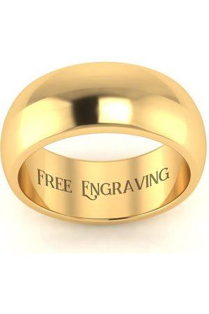 SuperJeweler Men Rings - 10K (6.5 g) 8MM Comfort Fit Ladies & Men's Wedding Band, Size 3.5, Free Engraving