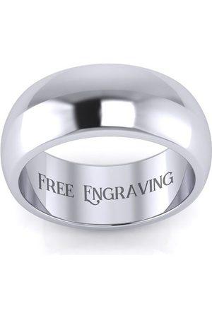 SuperJeweler Men Rings - Platinum 8MM Comfort Fit Ladies & Men's Wedding Band, Size 6.5, Free Engraving
