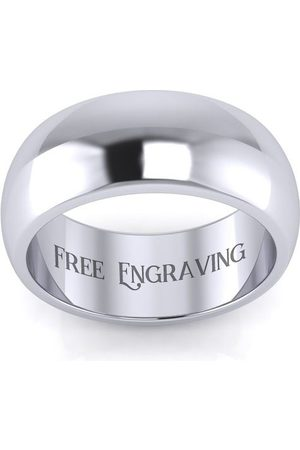 SuperJeweler Men Rings - 18K (8.5 g) 8MM Comfort Fit Ladies & Men's Wedding Band, Size 4.5, Free Engraving