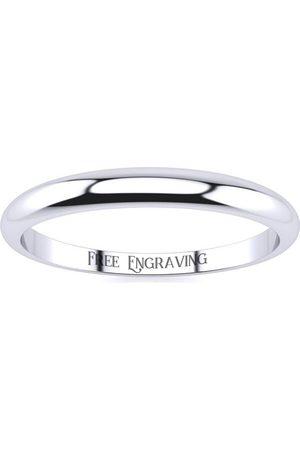 SuperJeweler Men Rings - Platinum 2MM Heavy Tapered Ladies & Men's Wedding Band, Size 12, Free Engraving