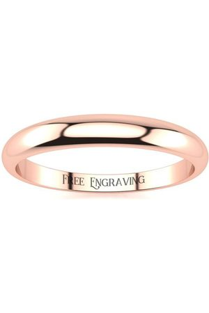 SuperJeweler 14K Rose (1.8 g) 3MM Heavy Tapered Ladies & Men's Wedding Band, Size 3.5, Free Engraving