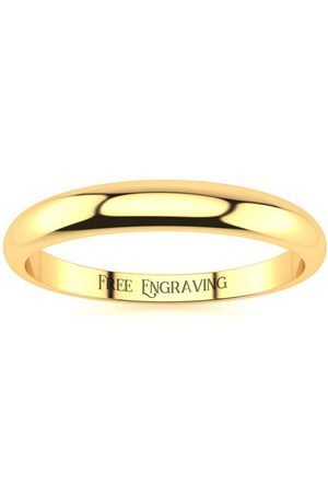 SuperJeweler 14K (2.1 g) 3MM Heavy Tapered Ladies & Men's Wedding Band, Size 6.5, Free Engraving