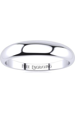 SuperJeweler 10K (2.5 g) 4MM Heavy Tapered Ladies & Men's Wedding Band, Size 8, Free Engraving