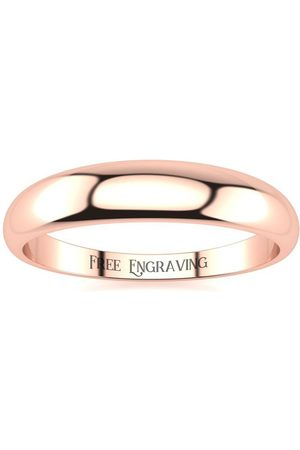 SuperJeweler 10K Rose (3.5 g) 4MM Heavy Tapered Ladies & Men's Wedding Band, Size 16, Free Engraving
