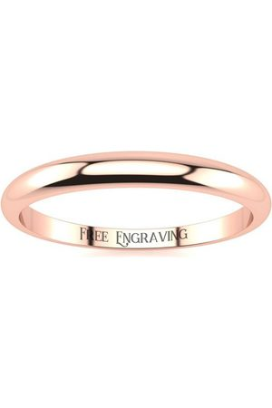 SuperJeweler 18K Rose (2.5 g) 2MM Heavy Tapered Ladies & Men's Wedding Band, Size 14, Free Engraving