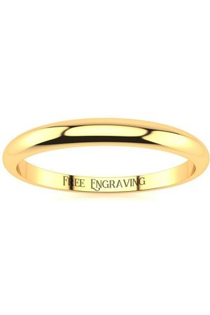 SuperJeweler 18K (2.4 g) 2MM Heavy Tapered Ladies & Men's Wedding Band, Size 13, Free Engraving