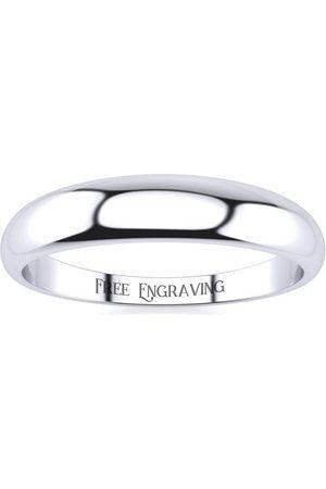 SuperJeweler Men Rings - Platinum 4MM Heavy Tapered Ladies & Men's Wedding Band, Size 7.5, Free Engraving