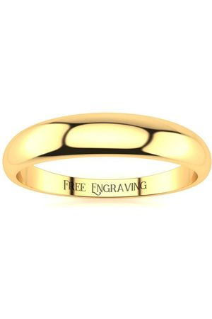 SuperJeweler 14K (2.6 g) 4MM Heavy Tapered Ladies & Men's Wedding Band, Size 7, Free Engraving
