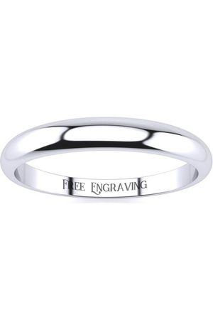 SuperJeweler 10K (1.8 g) 3MM Heavy Tapered Ladies & Men's Wedding Band, Size 6, Free Engraving
