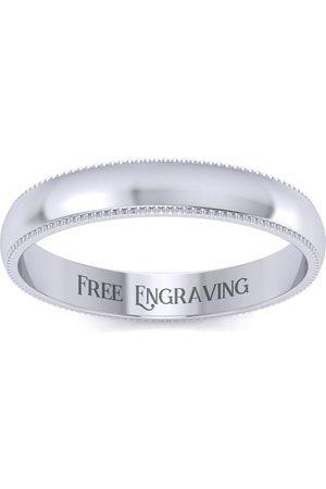 SuperJeweler Platinum 3MM Comfort Fit Milgrain Ladies & Men's Wedding Band, Size 3.5, Free Engraving