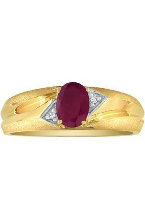 SuperJeweler Dual Texture 10k (2.8 g) 1.07 Carat Oval Ruby & Diamond Men's Ring, I/J